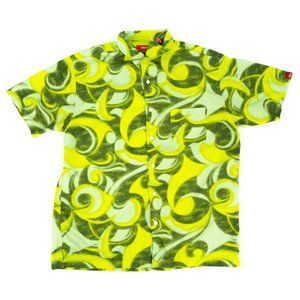 Mossimo Button Shirt Men's Large Green Abstract